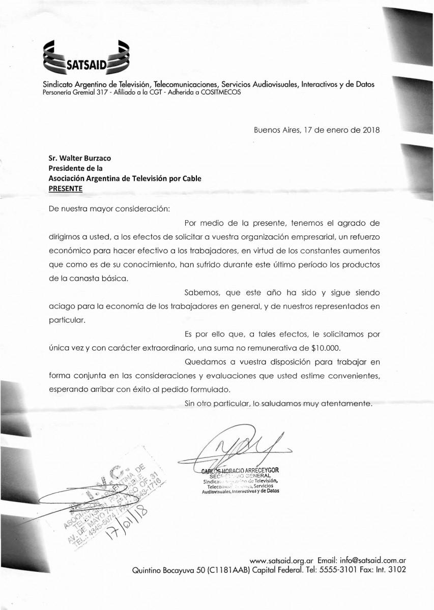 ATVC nota pedido refuerzo extraordinario 17-01-2018